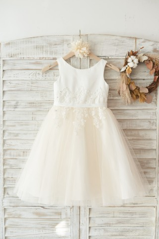 Ivory Satin Champagne Tulle Wedding Flower Girl Dress with Ivory Beaded Lace