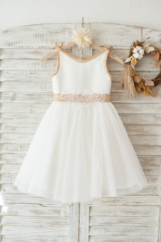 Ivory Satin Tulle Wedding Flower Girl Dress with Champagne sash and Bow