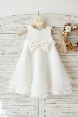 Boho Beach Ivory Satin Organza Wedding Flower Girl Dress with Bow
