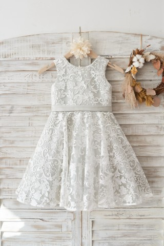 Ivory Lace Deep V Back Wedding Flower Girl Dress with Silver lining/bow