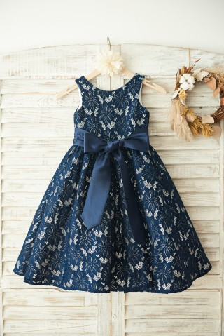 Navy Blue Lace Wedding Flower Girl Dress with Belt