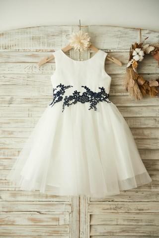 Ivory Satin Tulle Black Lace Wedding Flower Girl Dress