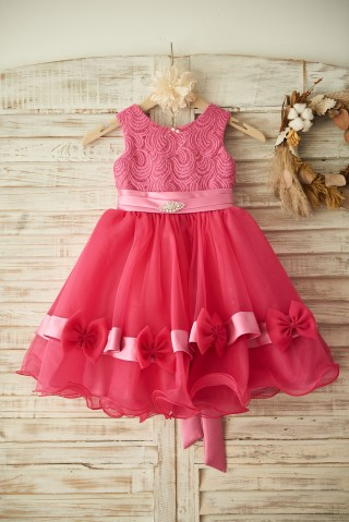 Fuschia Lace Organza Wedding Flower Girl Dress with Belt/Bow