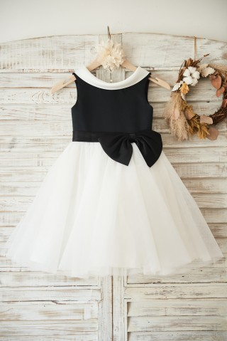 Black Satin Ivory Tulle Wedding Flower Girl Dress with V Back