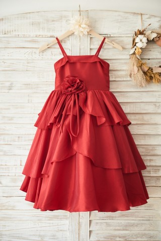 Red Taffeta Cupcake Wedding Flower Girl Dress with Spaghetti Straps/Bow