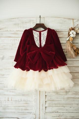 Red Velvet Champagne Tulle Wedding Party Flower Girl Dress with Long Sleeves