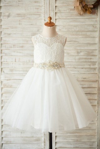 Ivory Lace Tulle Wedding Flower Girl Dress with Beaded Belt
