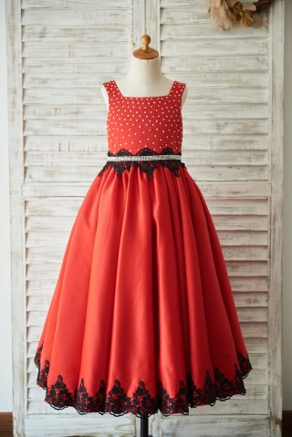 Red Satin Square Neck Wedding Party Flower Girl Dress with Beads/Black Lace Trim