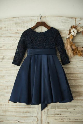 Long Sleeves Navy Blue Lace Satin Wedding Flower Girl Dress with Belt