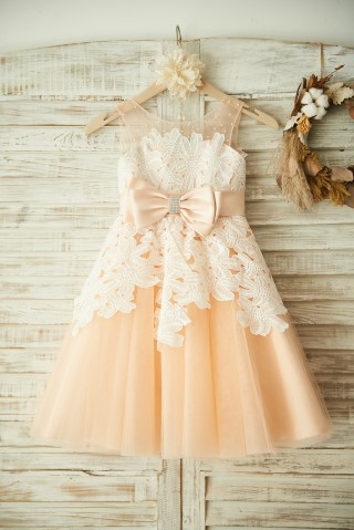 Champagne Tulle Beaded Ivory Lace Wedding Flower Girl Dress Princess Party Dress