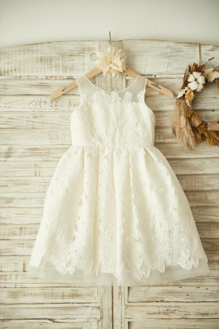 Ivory Lace Tulle Wedding Flower Girl Dress with Sheer Neck