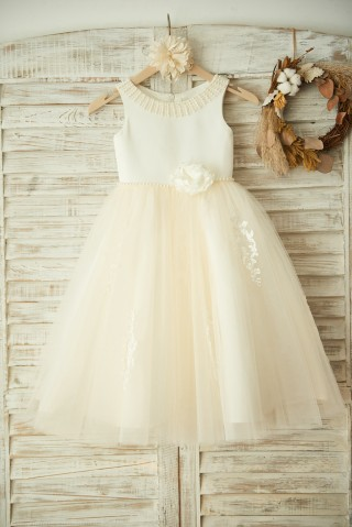 Ivory Satin Lace Champagne Tulle Wedding Flower Girl Dress with Pearls