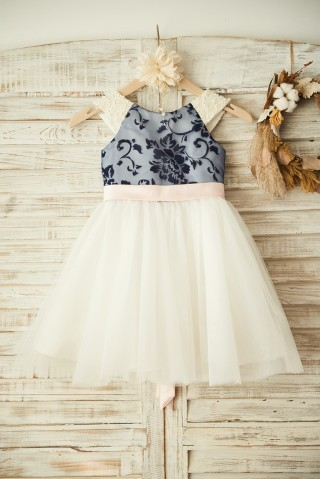 V Back Navy Blue Lace Ivory Tulle Wedding Flower Girl Dress with Pearl/Blush Pink Bow Belt