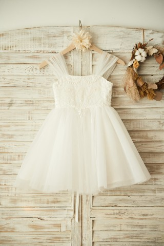 Boho Beach Ivory Tulle Beaded Wedding Flower Girl Dress