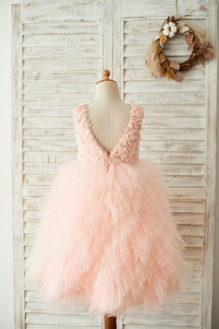 Pink Rosette Tulle V Back Wedding Flower Girl Dress