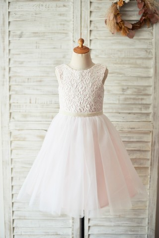 Ivory Lace Pink Tulle Open Back Wedding Flower Girl Dress with Pearls