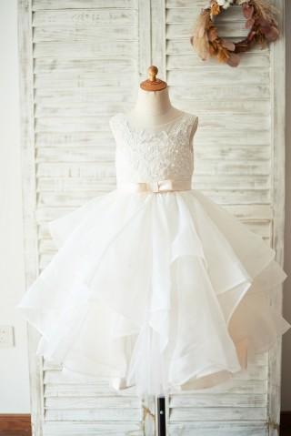 Ivory Lace Tulle Champagne Lining V Back Wedding Flower Girl Dress