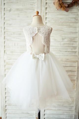 Ivory Lace Tulle Keyhole Backless Wedding Flower Girl Dress