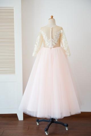 Long Sleeves Ivory Lace Pink Tulle Sheer Back Wedding TUTU Flower Girl Dress