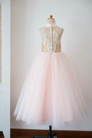 Halter Neckline Ivory Lace Pink Tulle Sheer Back Wedding Flower Girl Dress