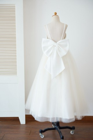 Spaghetti Straps Ivory Lace Champagne Tulle Backless Wedding Flower Girl Dress with Big Bow