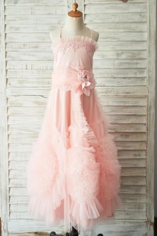 Boho Beach Pink Tulle Lace Wedding Flower Girl Dress