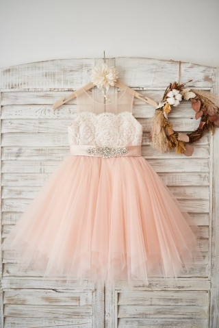 Sheer Neck Peach Pink Tulle Ivory Lace Wedding Flower Girl Dress with beaded sash