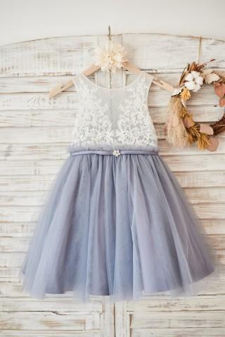 Ivory Lace Gray Tulle Sheer Back Wedding Flower Girl Dress with Belt