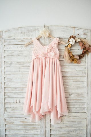 Blush Pink Tulle V Neck Wedding Flower Girl Dress with Flowers