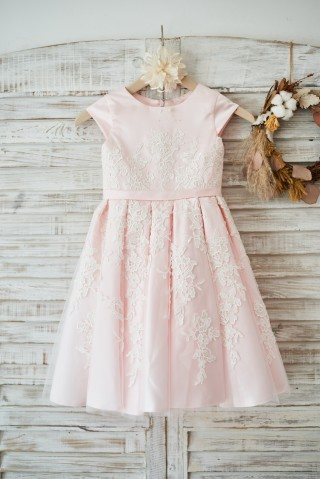 Pink Satin Ivory Tulle Lace Cap Sleeves Wedding Flower Girl Dress with Belt