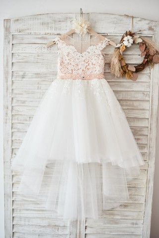 Cap Sleeves Ivory Lace Tulle Hi Low Wedding Party Flower Girl Dress with V Back/Beading