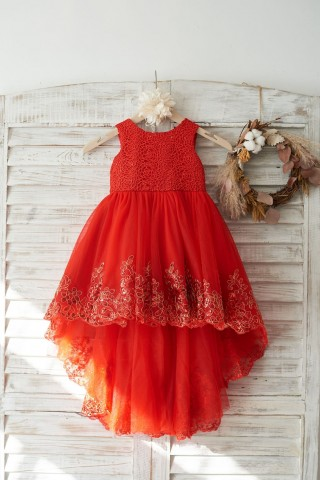 Red Lace Tulle Hi-Low Style Wedding Flower Girl Dress with Big Bow
