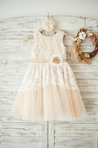 Ivory Lace Champagne Tulle Wedding Flower Girl Dress with Sash
