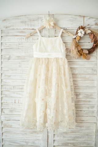 Champagne 3D lace Straps Wedding Flower Girl Dress with Bow Belt