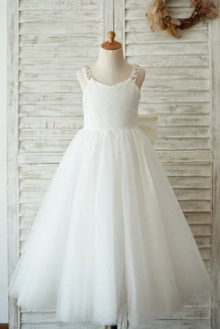 Deep V Back Ivory Lace Tulle Wedding Flower Girl Dress with Bow