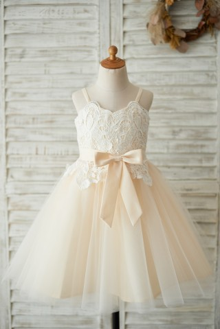 Spaghetti Straps Champagne Tulle Ivory Lace Wedding Flower Girl Dress