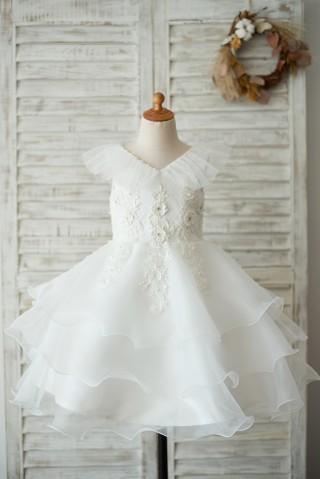 Cupcake V Neck Ivory Lace Organza Wedding Flower Girl Dress with Beading