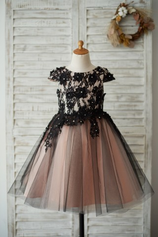 Cap Sleeves Black Lace Tulle Mauve Lining Wedding Flower Girl Dress with Beading