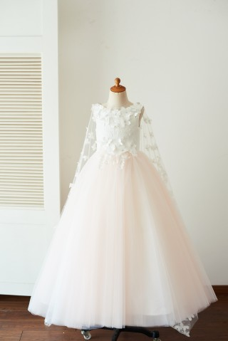 Ivory Lace Pink Tulle Wedding Party Flower Girl Dress with Butterfly Cape