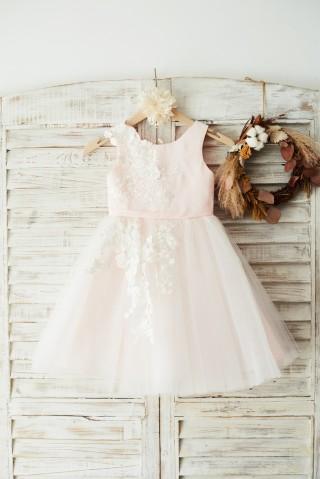 Ivory Lace Tulle Pink Satin Wedding Flower Girl Dress Junior Bridesmaid Dress