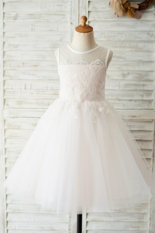 Ivory Lace Pink Tulle Wedding Flower Girl Dress with Keyhole Back