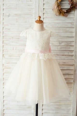 Ivory Lace Champagne Tulle Cap Sleeves Wedding Flower Girl Dress with Open Back/Bow