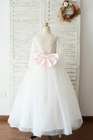 Ivory Lace Tulle Long Sleeves V Back Wedding TUTU Flower Girl Dress with Pink Bow