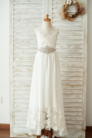 Boho Beach Lace Chiffon Backless Long Wedding Flower Girl Dress with Belt