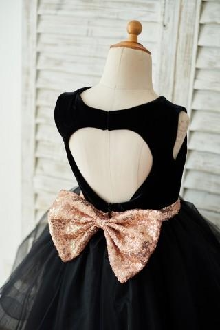 Black Velvet Tulle Keyhole Back Wedding Flower Girl Dress with Sequin Bow
