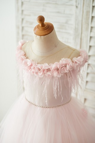 Off Shoulder Pink Tulle Feathers Wedding Party Flower Girl Dress