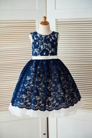 Princess Navy Blue Lace Ivory Tulle Wedding Flower Girl Dress