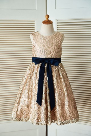 Champagne Gold Sequin Wedding Flower Girl Dress with Navy Blue Belt