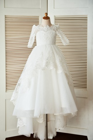 Off Shoulder Long Sleeves Beaded Lace Tulle Wedding Flower Girl Dress with Sweep Train