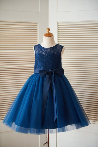 Navy Blue Lace Tulle Keyhole Back Wedding Flower Girl Dress